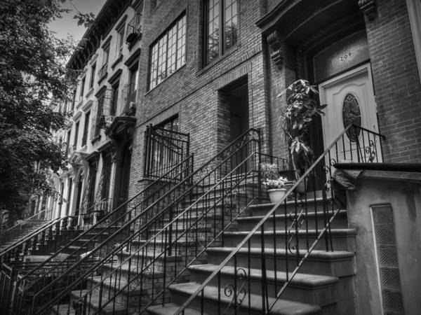 Photograph - Stoops Of Brooklyn 001 Bw by Lance Vaughn
