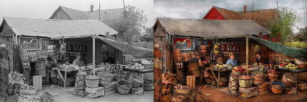 Photograph - Store - Fruit - Grand Dad's Fruit Stand 1939 - Side By Side by Mike Savad