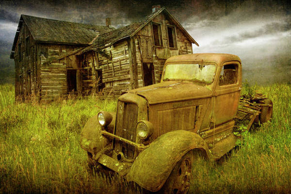 Photograph - Stories To Be Told With Abandoned Dodge Truck And Farm House by Randall Nyhof