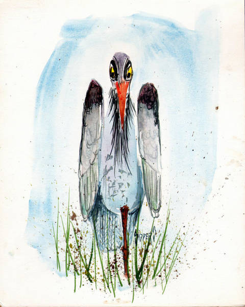 Stork Painting - Jenifer's Friend - George #2 by Sam Sidders