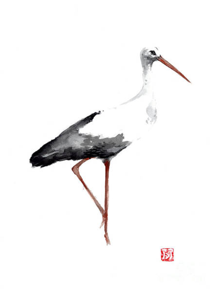 Stork Painting - Stork Watercolor Art Print Painting by Joanna Szmerdt