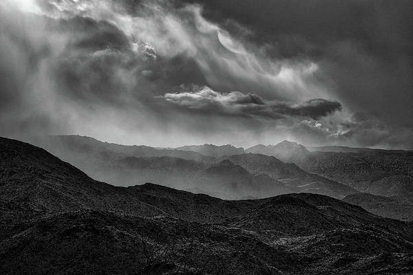 Laguna Mountains Photograph - Storm - Black And White by Peter Tellone