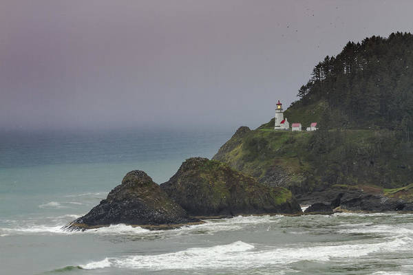 Promontory Point Photograph - Storm Brewing At Heceta Head Lighthouse by Teri Virbickis