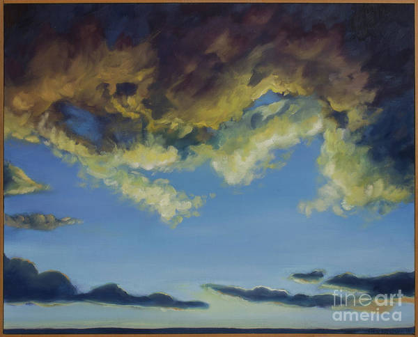 Grand Rapids Painting - Storm Clouds Clearing For Peace, With Frame by Liesl Walsh