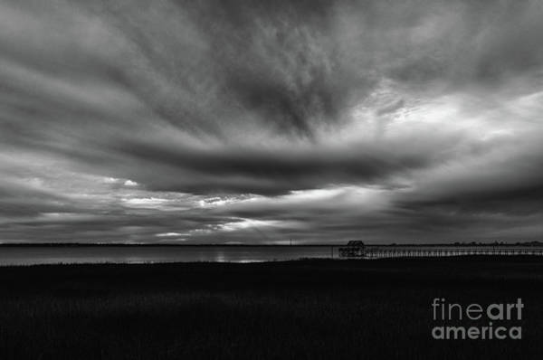 Photograph - Storm Clouds Over Charleston Harbor In Black And White by Dale Powell