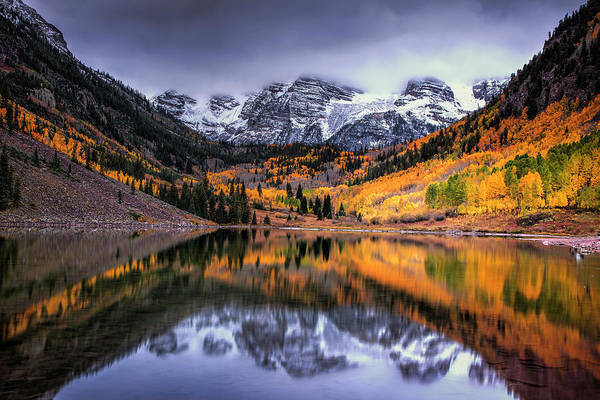 Mountain Range Photograph - Storm Clouds Over Maroon Bells by Andrew Soundarajan
