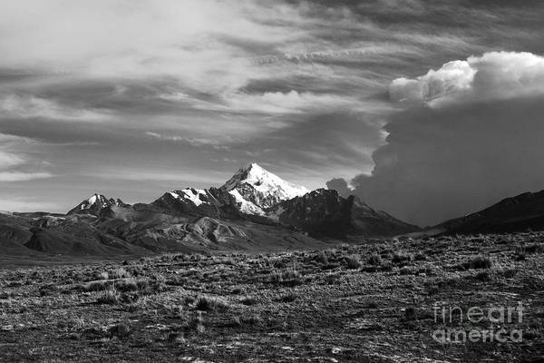 Photograph - Storm Clouds Over Mt Huayna Potosi by James Brunker
