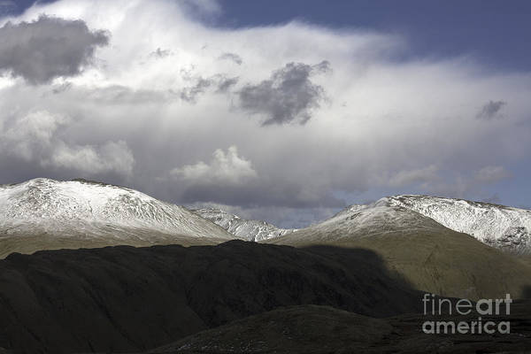 Grasmere Wall Art - Photograph - Storm Clouds Passing Across The Snow Covered Summits Of St Sunday Crag And Fairfiled Grasmere  by Michael Walters