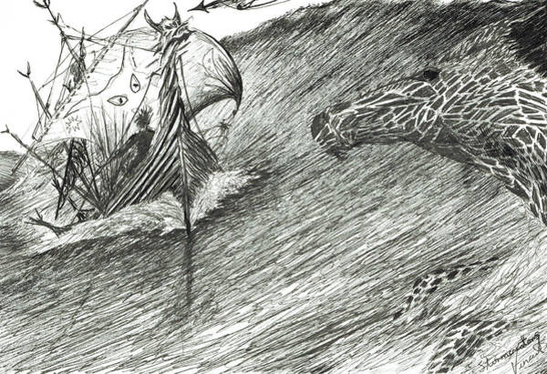 Sorcery Drawing - Storm Creator Atlantic by Vincent Alexander Booth