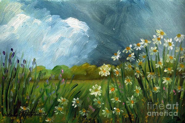 Painting - Storm Daisies by Linda L Martin