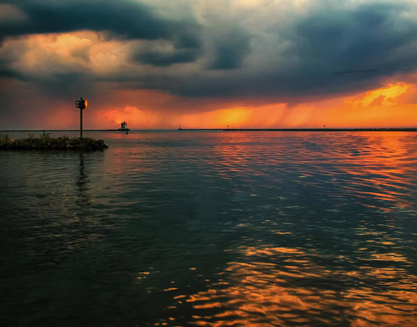Photograph - Storm In Lorain Ohio At The Lighthouse by Richard Kopchock
