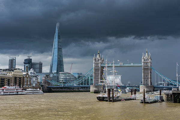 Photograph - Storm Looming Over The Shard And Tower Bridge by Gary Eason