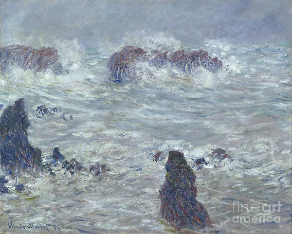 Wall Art - Painting - Storm Off The Coast Of Belle Ile by Claude Monet
