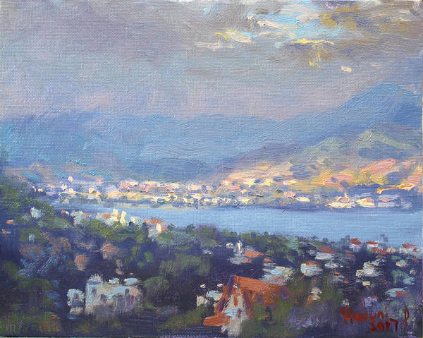 Storm Painting - Storm Over Dilesi And Evia Island  by Ylli Haruni