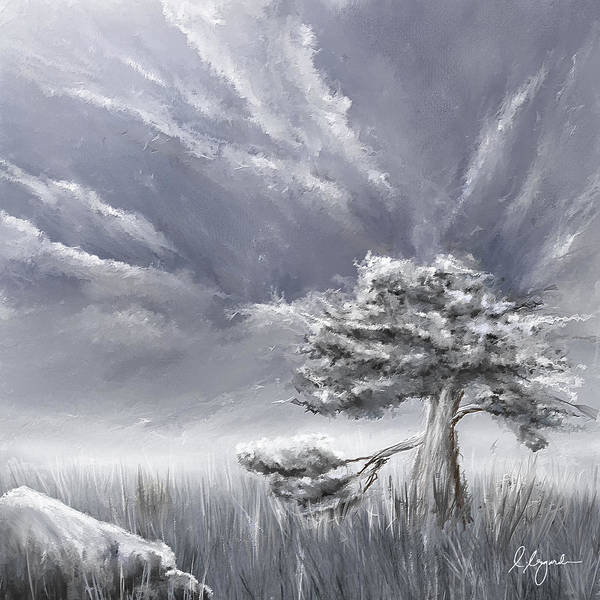 Painting - Storm Over Hayfield- Navy And Gray Art- Hayfield Art by Lourry Legarde