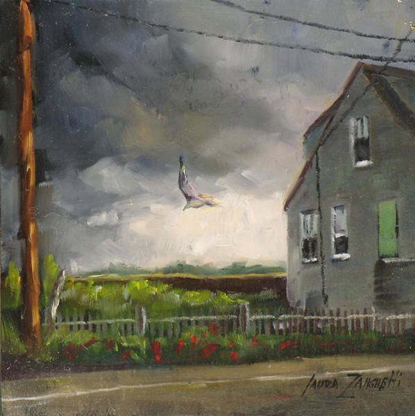 Stormy Sky Painting - Storm Over Hull Jr by Laura Lee Zanghetti