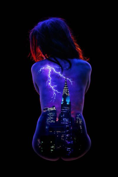 Blacklight Painting - Storm Over New York by John Poppleton