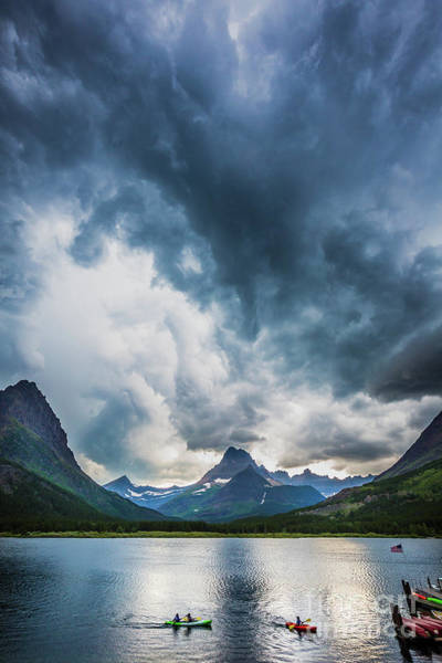 Kayak Photograph - Storm Over Swiftcurrent Lake by Inge Johnsson