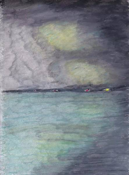 Oil Pastels Drawing - Storm Over The Keys by John Boyd
