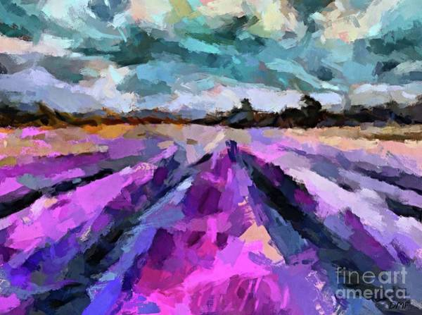 Wall Art - Painting - Storm Over The Lavender Fields by Dragica Micki Fortuna