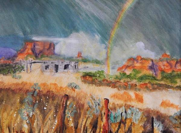 Fencepost Painting - Storm Over The Mesa by Bruce Erdmann