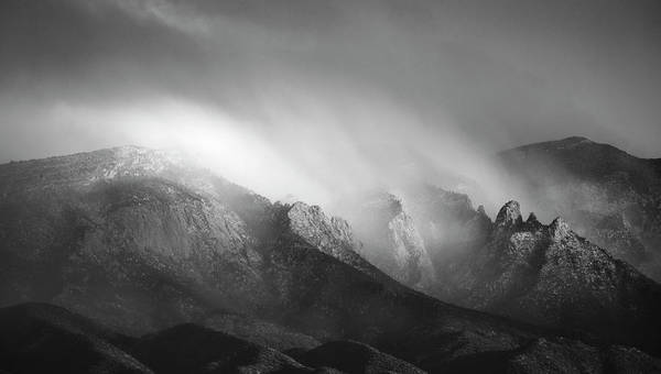 Photograph - Storm Over The Sandias In Black And White by Mary Lee Dereske