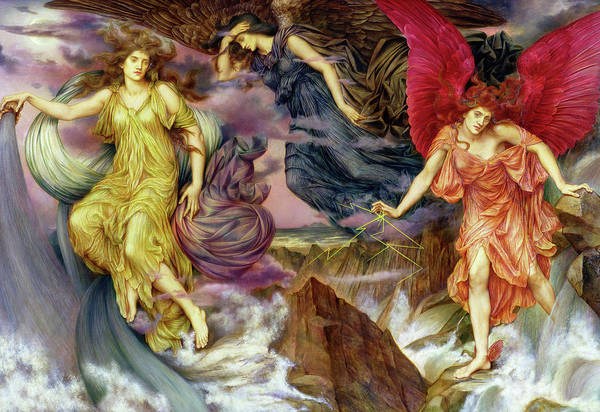 Lightening Painting - Storm Spirits by Evelyn De Morgan