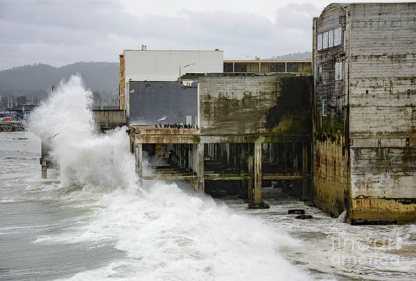 Photograph - Storm Waves Hit Aeneas Ruins At Cannery Row by Susan Wiedmann