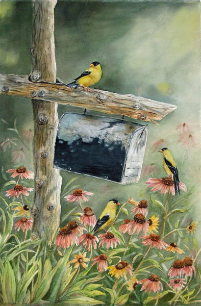 Goldfinch Wall Art - Painting - Stormbirds by Patricia Pushaw
