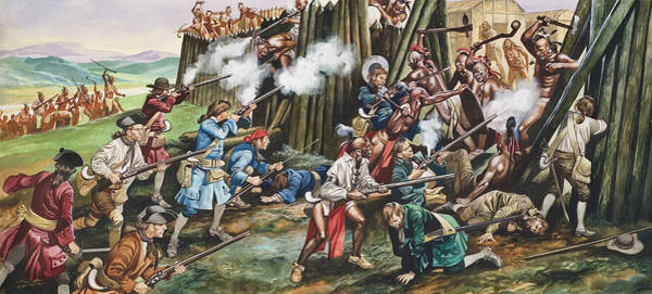 Native Painting - Storming Of The Fortress Of Neoheroka by Ron Embleton