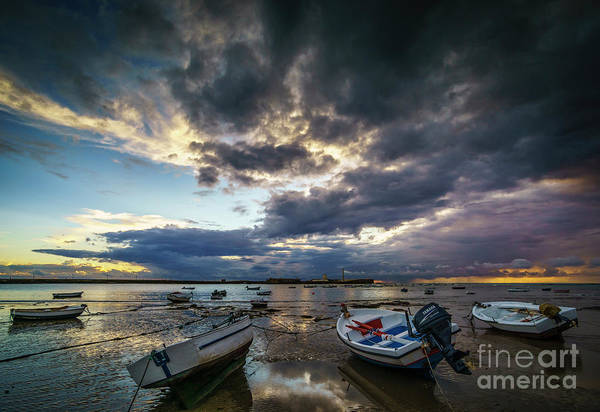 Photograph - Storms At Dusk In La Caleta Cadiz Spain by Pablo Avanzini