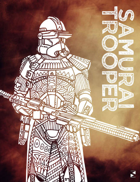 Darth Vader Mixed Media - Stormtrooper - Star Wars Art - Brown by Studio Grafiikka