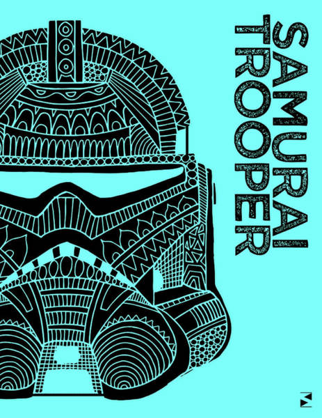 Darth Vader Mixed Media - Stormtrooper Helmet - Blue - Star Wars Art by Studio Grafiikka