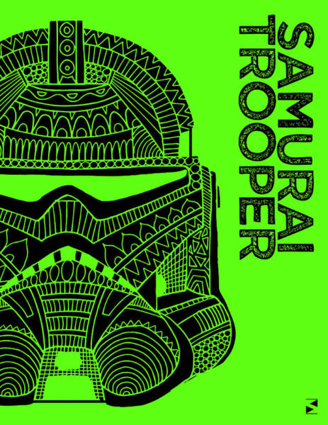 Darth Vader Mixed Media - Stormtrooper Helmet - Green - Star Wars Art by Studio Grafiikka