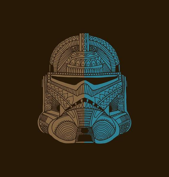 Darth Vader Mixed Media - Stormtrooper Helmet - Star Wars Art - Brown Blue by Studio Grafiikka