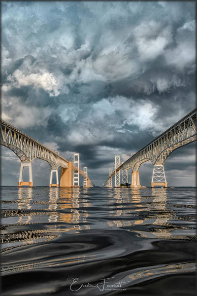 Stormy Chesapeake Bay Bridge Art Print