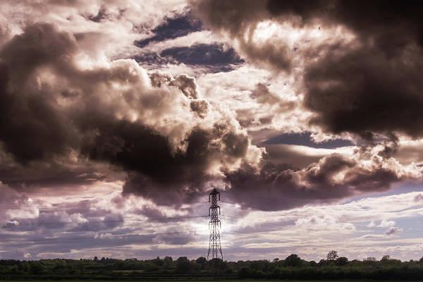 Photograph - Stormy Clouds Above Solitary Pylon by Jacek Wojnarowski