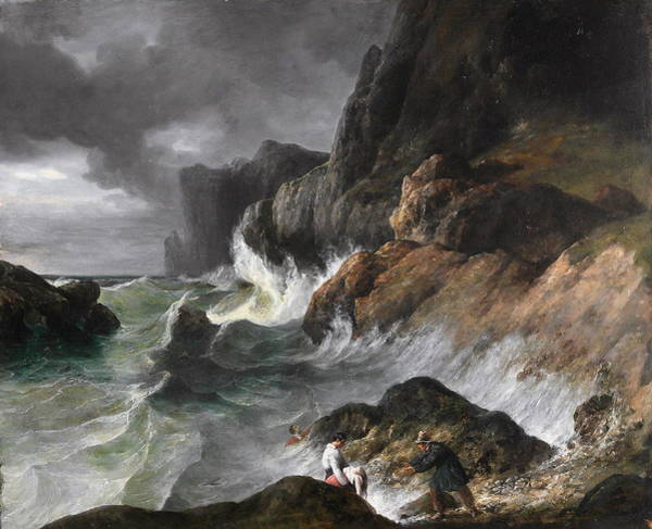 Tsunami Painting - Stormy Coast Scene After A Shipwreck by Horace Vernet