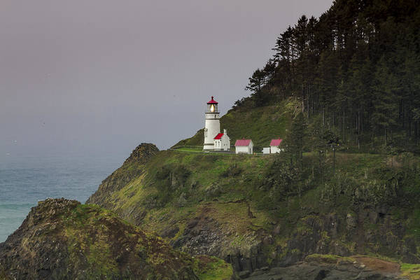 Promontory Point Photograph - Stormy Day At Heceta Head Lighthouse by Teri Virbickis