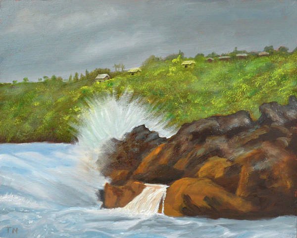 Painting - Stormy Day At Laupahoehoe by Thu Nguyen