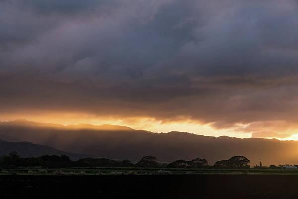 Photograph - Stormy Hawaiian Sunset - Rose Gold And Amethyst Behind Waianae Mountains by Georgia Mizuleva