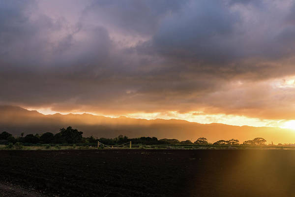 Photograph - Stormy Hawaiian Sunset - Rose Gold And Amethyst Clouds And Mists by Georgia Mizuleva