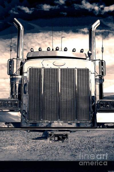 Semi Truck Photograph - Stormy Night Peterbilt by Randy Harris