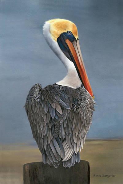 Laguna Beach Painting - Stormy Pelican by Renee Bangerter