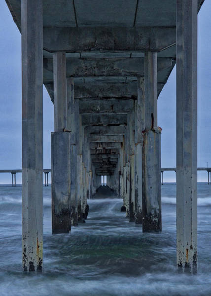 Stormy Pier In Ocean Beach Art Print