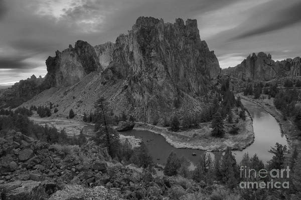 Redmond Photograph - Stormy Skies Over Smith Rock - Black And White by Adam Jewell