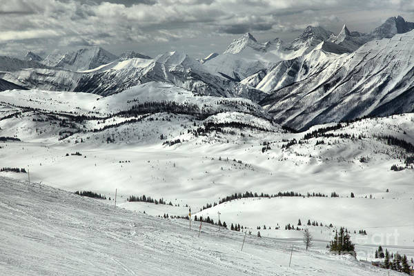 Photograph - Stormy Skies Over The Sunshine Village Rockies by Adam Jewell