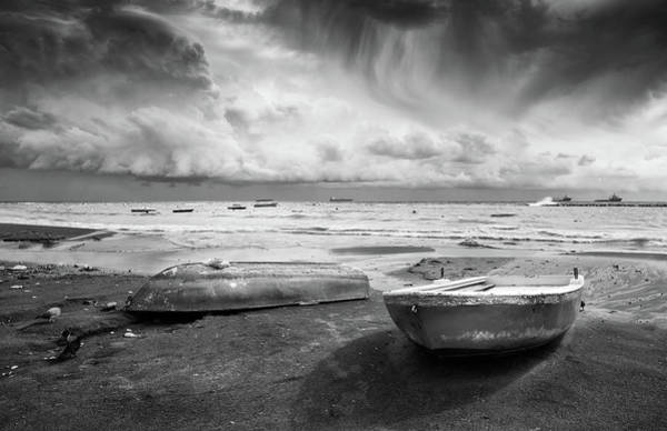Outdoor Wall Art - Photograph - Stormy Sky Sea And Boats by Michalakis Ppalis