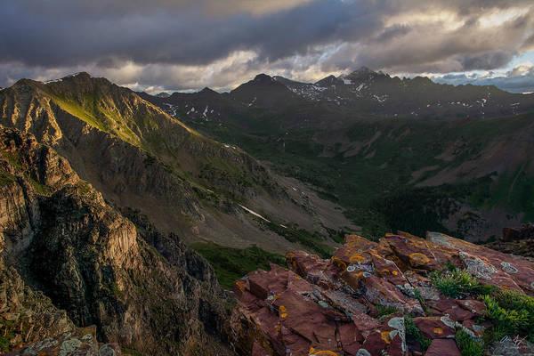 Fourteener Photograph - Stormy Sunrise - Castle Peak by Aaron Spong