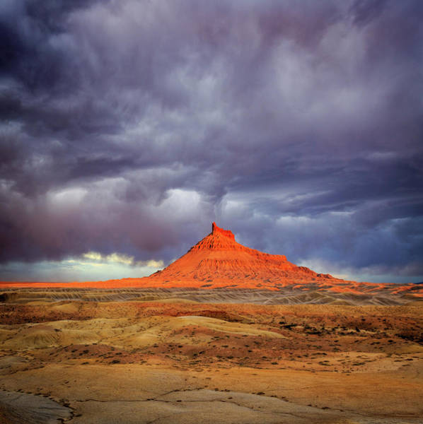 Grand Mesa Photograph - Stormy Sunset Above Factory Butte. by Johnny Adolphson